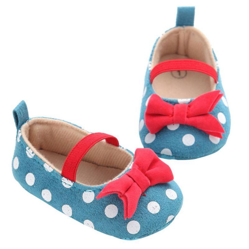 Baba Dot Bow Princess Cipők Polka Dot Bow cipő Princess lányok Soft Soled Bottom csúszásgátló cipő újszülött kisgyermek lány