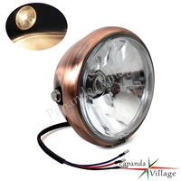 Motorcycle 12V Brown Front Streetfighters Headlight Custom Retro Headlamp for Harley Chopper Cafe Racer