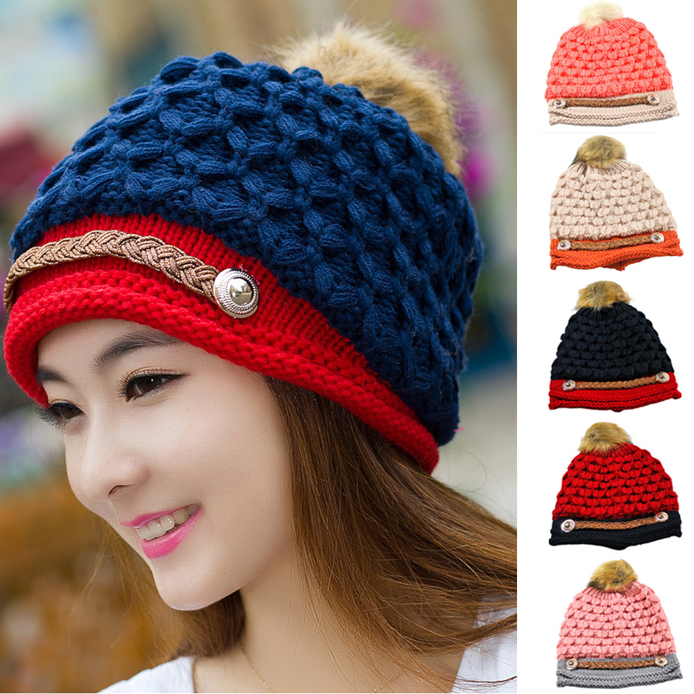 Women Winter Knitted Warm Ski Beanie Hat Slouch Wool Pom Bobble Caps HATBD0022