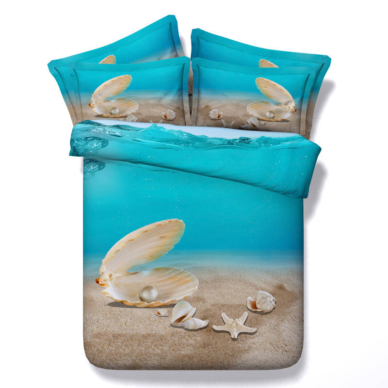 Comforter bedding sets 3D Beach Starfish blue Sea seashell ...