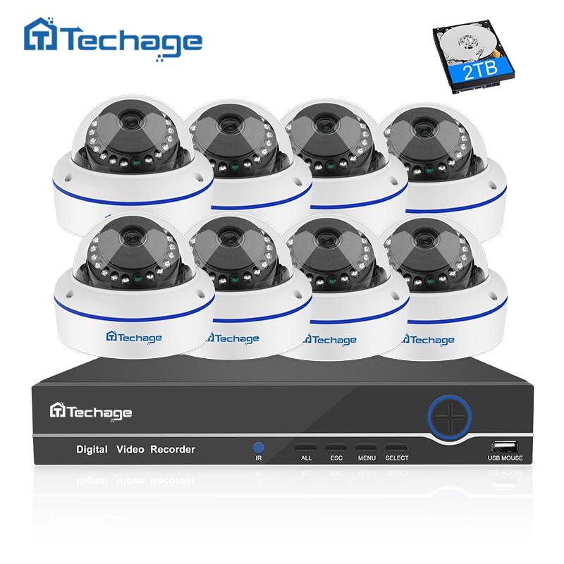 Techage 8CH 1080P CCTV System POE NVR Kit 8PCS Anti Vandal Dome Indoor Vandalproof IP Camera