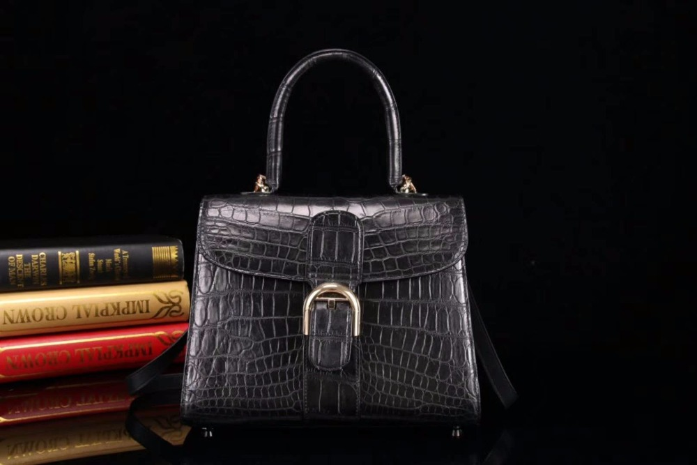 Hot selling style 100% Real/Genuine Crocodile belly Skin Leather tote shoulder bag medium size top handle cute women bag 100% crocodile skin womens genuine hobo crocodile leather tote bag messenger casual tote handbag brown color free shipping