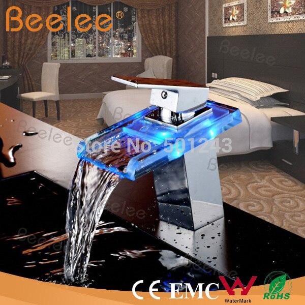 Свет площадь Стекло водопад Ванная комната бассейна кран хром полированный смеситель водопад кран Стекло кран Torneira Banheiro