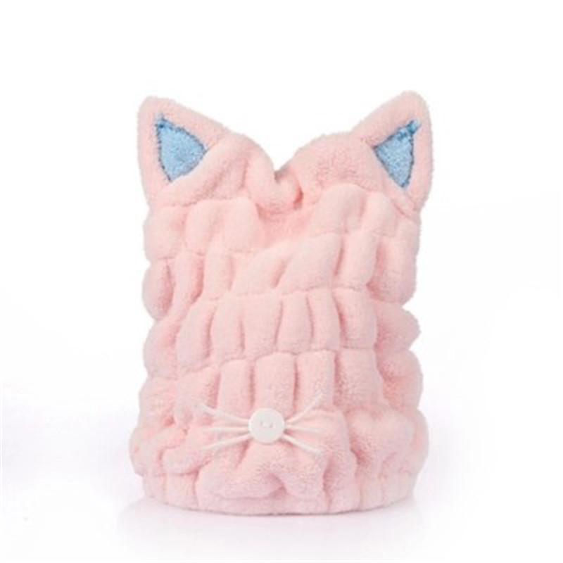 Lovely Cat Soft Bath Towel Cap With Strong Absorbing for Home Use or Travel 1