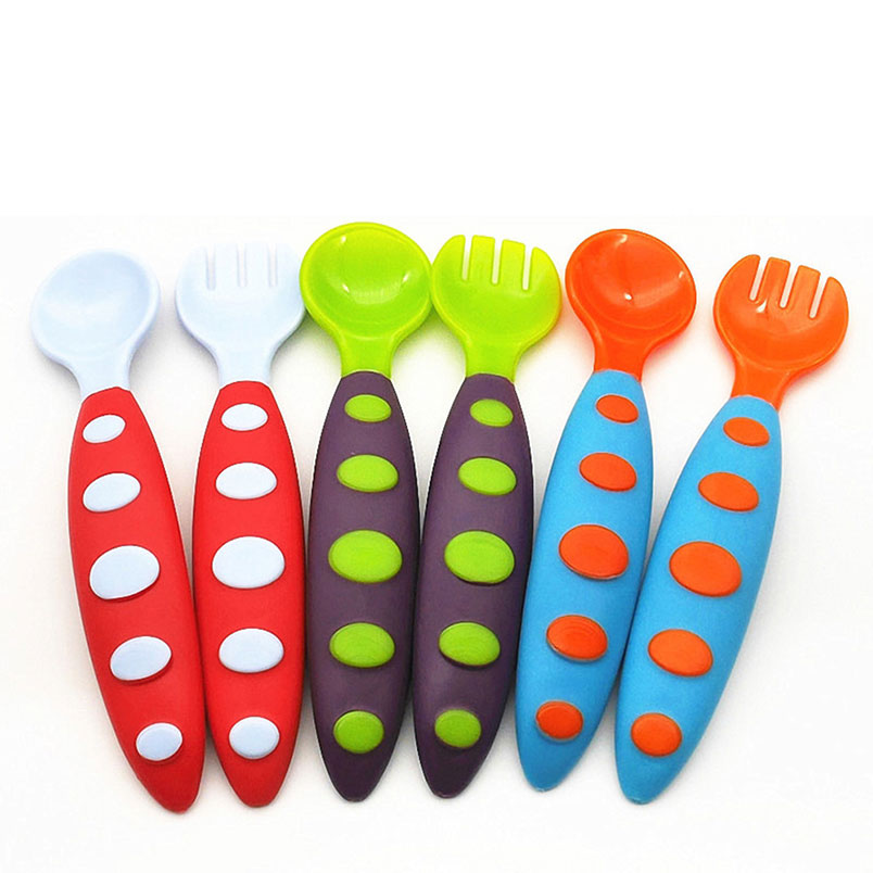 52540196aa77 US $0.33  Baby Toddler Utensils Tableware Fork Spoon Combination Set Travel  Case Perfect Size Kids Training Cutlery Infant Self Feeding-in Baby ...
