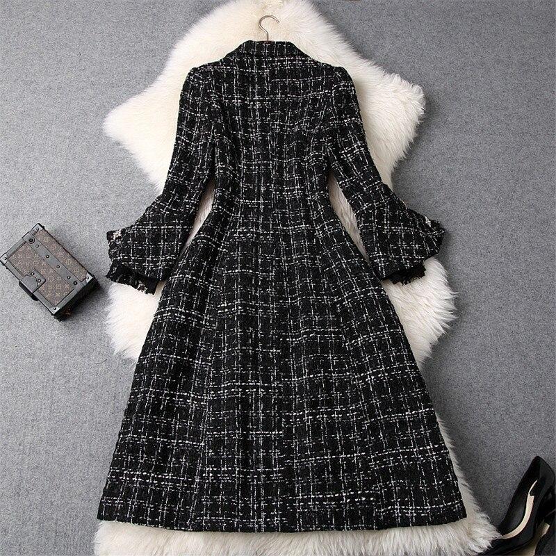 Runway Designer Winter Tweed Wolle Jacken und Mäntel Frauen 2019 Mode Neue Flare Hülse Lange Plaid Wolle Mantel Oberbekleidung - 2