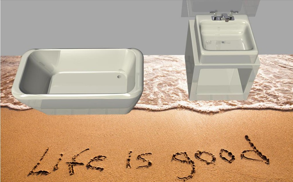 ФОТО 3d floor painting customize Sandy beach 3d floor tiles kitchen self-adhesive 3D photo flooring pvc wallpaper