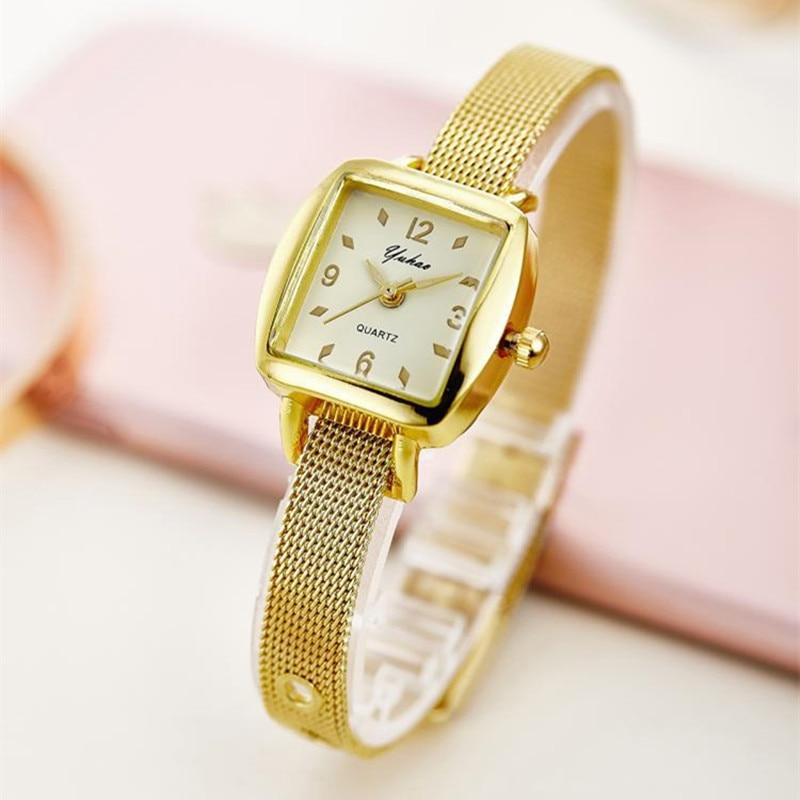 Rose Gold Bracelet Bangle Rhinestone Crystal Watches Ladies Watch Original rectangle Quartz Women Fashion Dress watches AC078 stylish rose gold cut out rectangle rhinestone bracelet for women