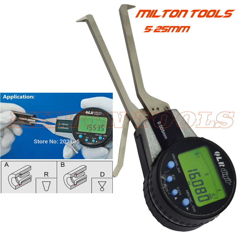 5 25mm 0 005mm Digital Inside Caliper Electronic Gauge with Rotatable Dial Measuring Bore Groove Abs