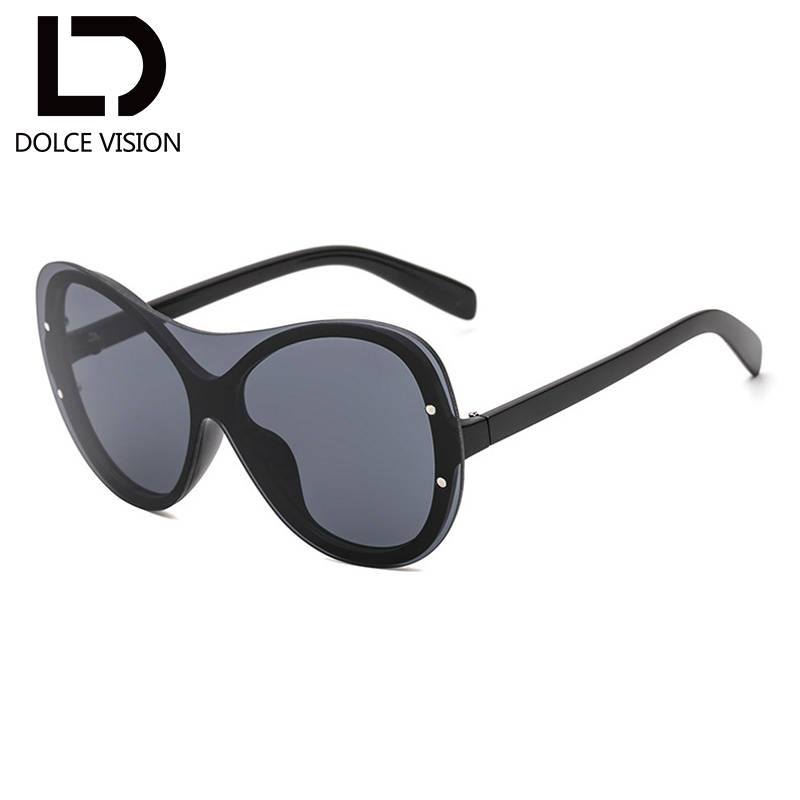 DOLCE VISION Vintage Google Sunglasses Women Mirrored Rimless Shades Ladies Oversize Driver Sunglasses Female Oculos de sol New