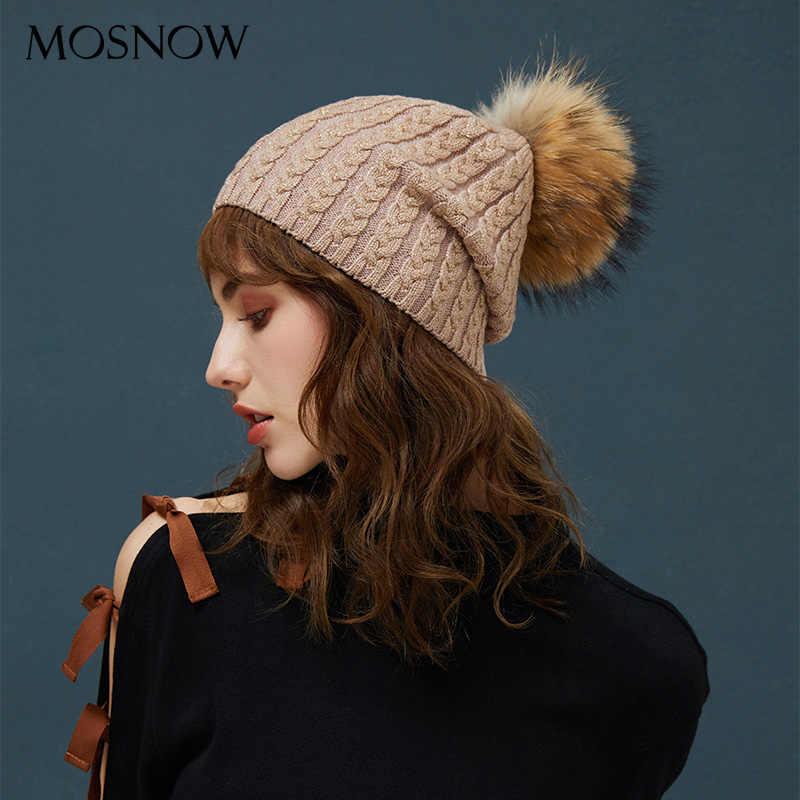 c979c068885f2 Winter Hats For Women Warm Beanie Real Fur Pompom Wool Hat Female  Twist-Type Cap