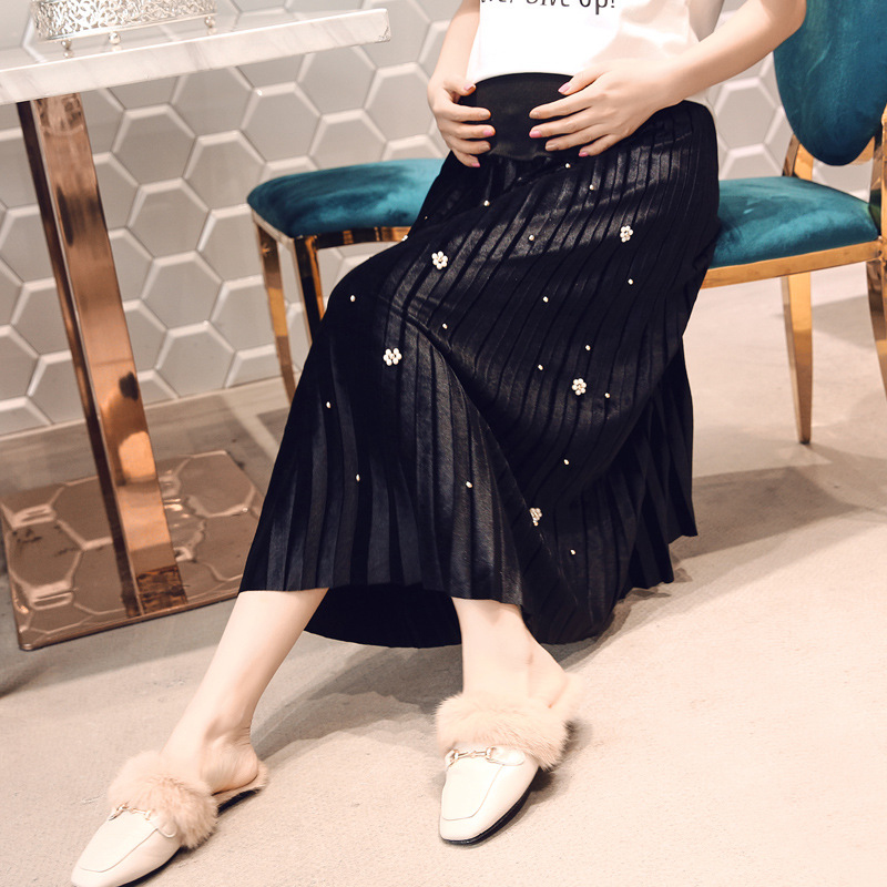 Pregnant Women Pleated Midi Long Skirts Pregnancy Velour Beading Maternity High Waist Elegant Fashion Pregnancy Bottoms Clothes facecozy men summer camouflage sports shorts male outdoor tactical military fishing short trouser with multi pockets