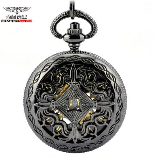 Flower Hollow Cover Black Mechanical Pocket Watch Necklace Pendant Men Women