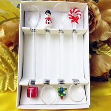 Factory wholesale! Glass Christmas sculpture decorative glass spoon restaurant tableware creative cartoon art