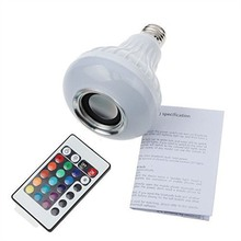 Wireless Bluetooth Speaker +12W RGB Bulb E27 LED Lamp 100-240V 110V 220V Smart Led Light Music Player Audio with Remote Control