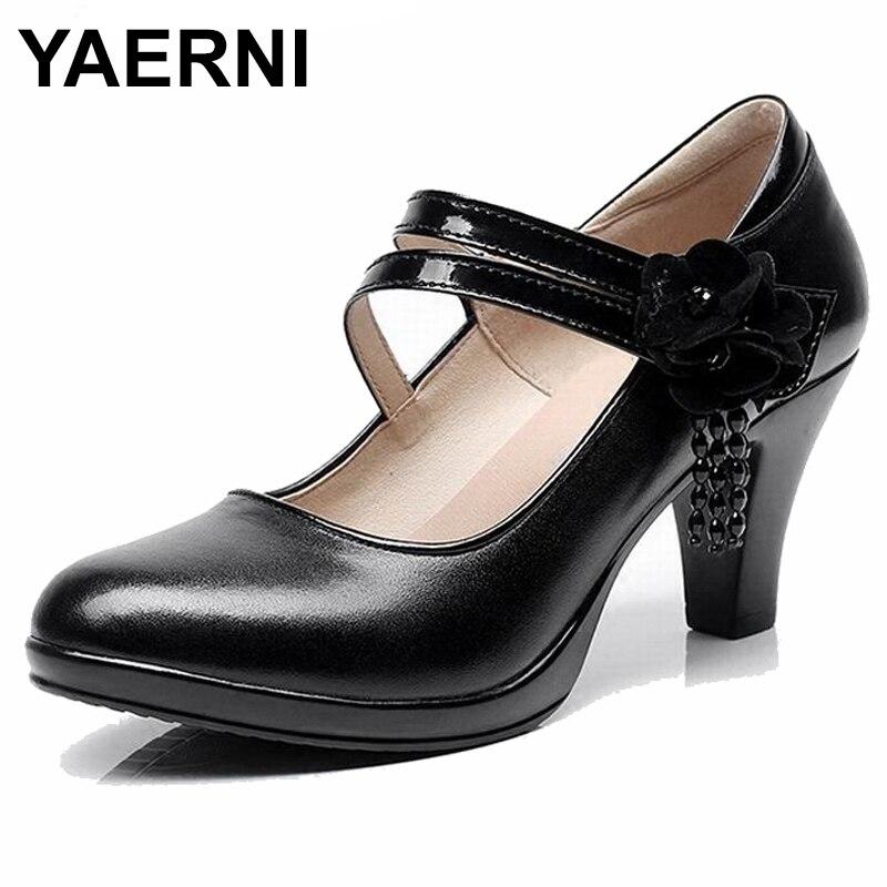YAERNIGenuine Leather Shoes Women High Heel Shoes