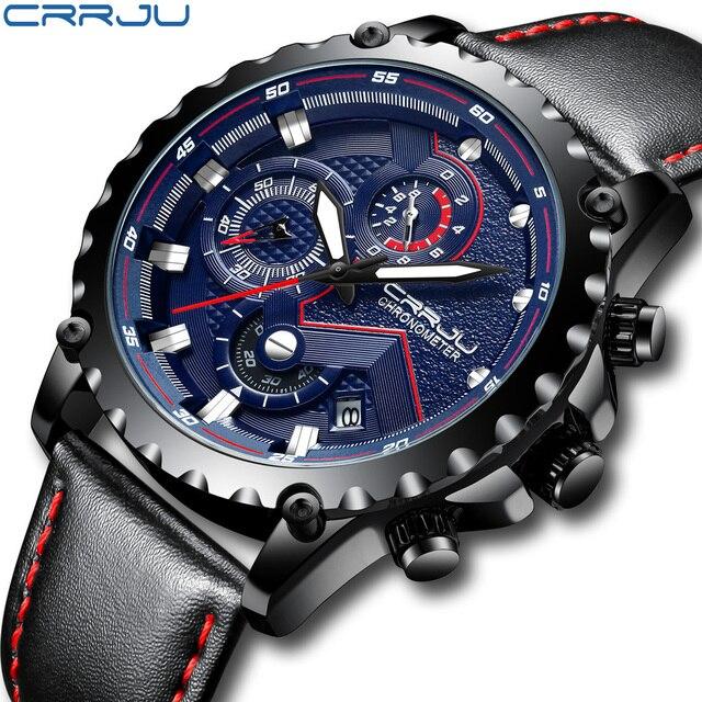 New Fashion Sports Quartz Men Watches CRRJU Relogio Masculino Clock Mens Top Brand Luxury Military Leather Waterproof Watch men