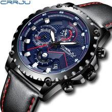 Nowe mody sportowe zegarki kwarcowe męskie zegarki CRRJU Relogio Masculino męskie Top marka luksusowy skórzany wojskowy wodoodporny zegarek mężczyzn