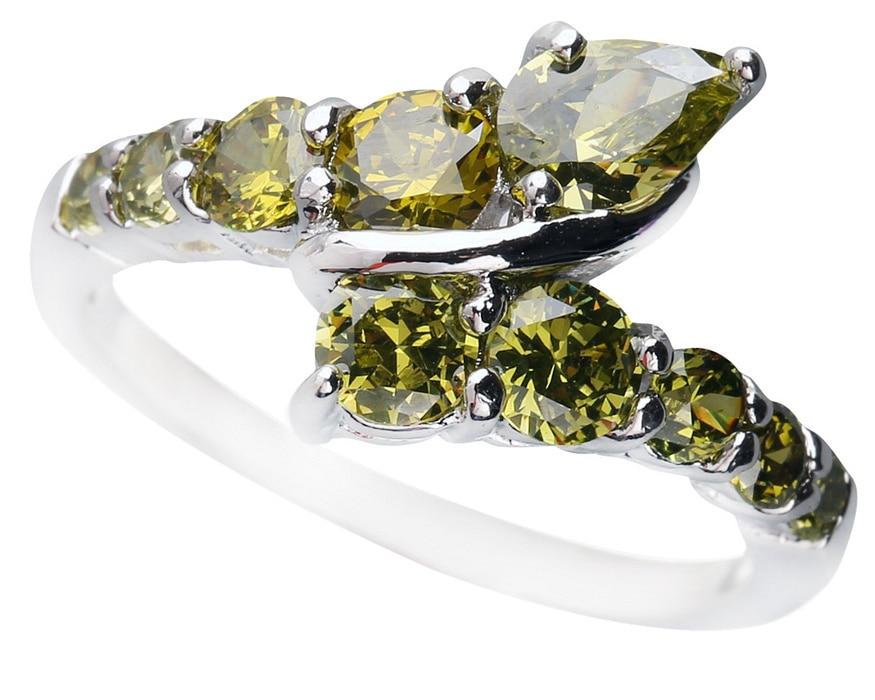 Luxurious Olivine Peridot 4*6mm Semi-precious Stone Silver cool for women Ring Q1118
