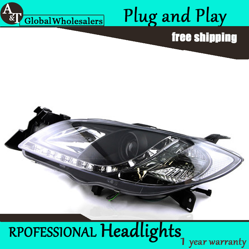 Car Styling for Mazda 3 LED Headlight Mazda3 Headlight assembly LED DRL Lens Double Beam H7 with hid kit 2 pcs. hireno headlamp for 2012 2016 mazda cx 5 headlight headlight assembly led drl angel lens double beam hid xenon 2pcs