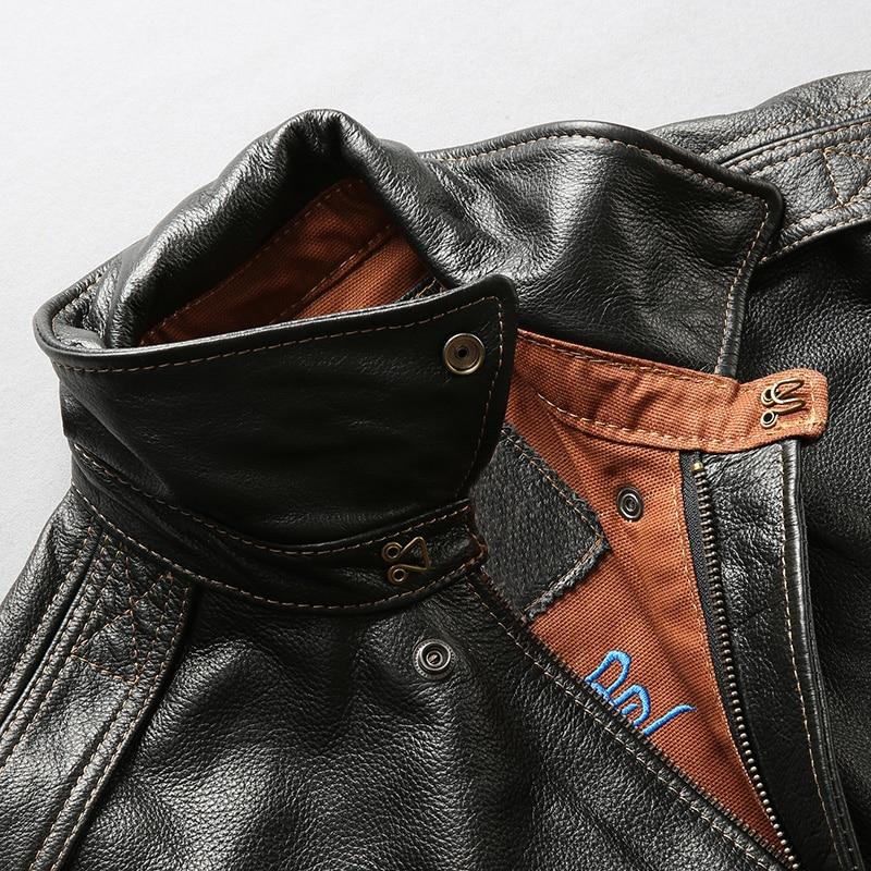 Facotry 2018 nueva chaqueta de piloto A2 negra/marrón para hombres chaquetas ajustadas casuales de piel de vaca genuina Rusia abrigos de invierno S 4XL - 5