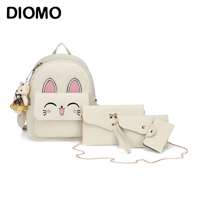 DIOMO 4pcs Backpack Cute Cat Backpack Set for Women High Quality PU Leather Daypack for Girls Female Bag Set 4pcs cute small cat printing backpack set for teenage girl black pu leather women female backpack shoulder bag purse mochila bag