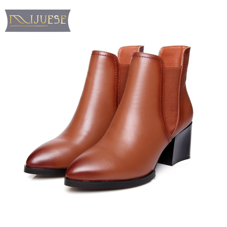 MLJUESE 2018 women ankle boots cow leather slip on pointed toe high heels brown color autumn winter Chelsea boots size 34-39