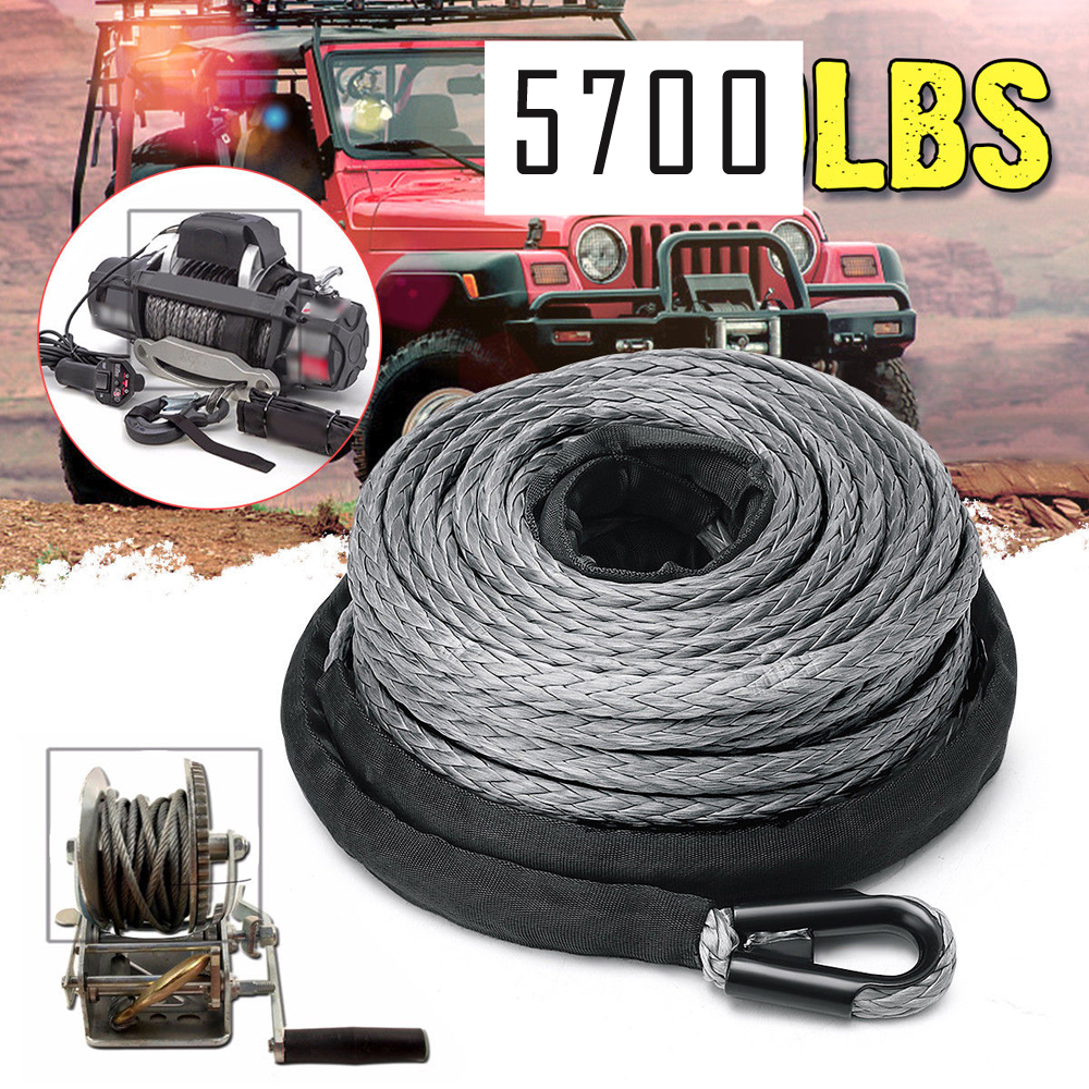 """3//16/"""" x 50/' 7700LBs Synthetic Winch Line Cable Rope with Sheath ATV UTV Blue"""