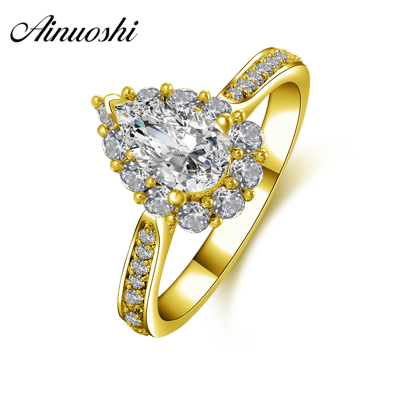 все цены на AINUOSHI 10K Solid Yellow Gold Wedding Ring 1 Carat Pear Cut Simulated Diamond Anillos Halo Rings for Women Engagement Bijoux