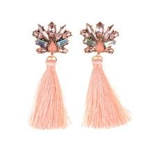 BK Charm Style Bohemian  Earring Wedding Tassel Crystal Dangle Drop Women Fringed Statement Earrings