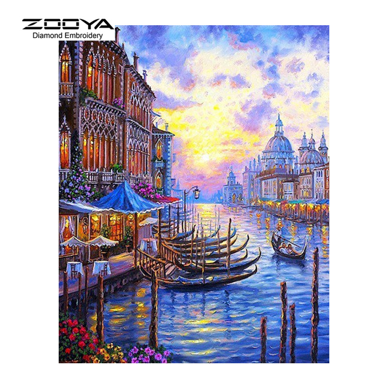 Zooya diamond Вышивка 5D поделки алмазов картина приморский город лодка Pier Вышивка с кристаллами Rhinestone Мозаика bj1729