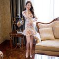 National Flowers Print Skirt Long Improved Qipao Dress Daily Cheongsam