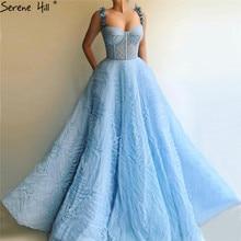 כחול ללא שרוולים קריסטל פרחים סקסי ערב שמלות 2020 אונליין קפל טול ארוך פורמליות שמלת Serene היל LA60992
