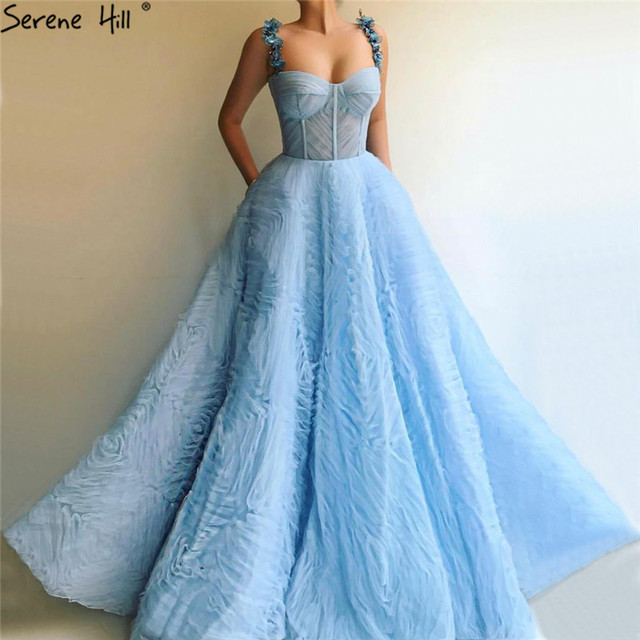Blauw Mouwloos Crystal Bloemen Sexy Avondjurken 2020 A lijn Plooi Tulle Lange Formele Jurk Serene Hill LA60992