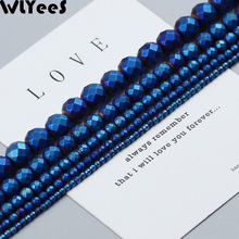 WLYeeS Polish plating Hematite Faceted Round beads Matte Natural Stone 2-10mm Spacer Loose for Jewelry Bracelet Making DIY