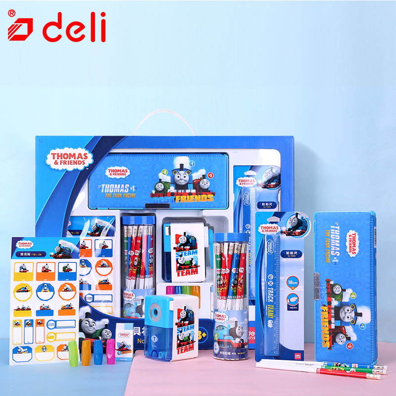 Ensemble de papeterie Deli Pokemon papeterie étudiant crayon/taille-crayon/cahier/crayon de couleur Kits d'apprentissage fournitures scolaires - 6