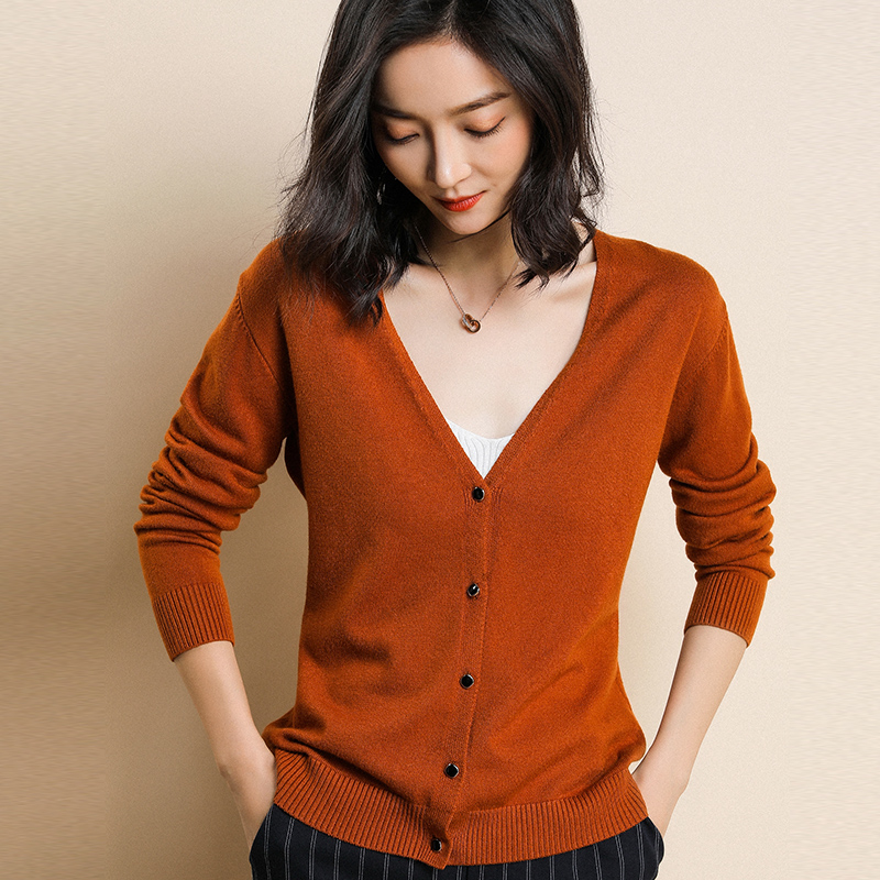 2019 Autumn And Winter New Cashmere Blend Soft Single Breasted Cardigan V-Collar Wool Sweaters Fashion Comfortable Soft