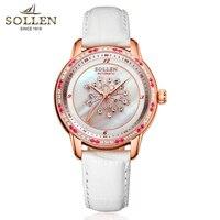 SOLLEN Известный часы для женщин сапфировое стекло раковины алмаз для женщин часы Кварцевые лучший бренд Роскошные женские наручные ч