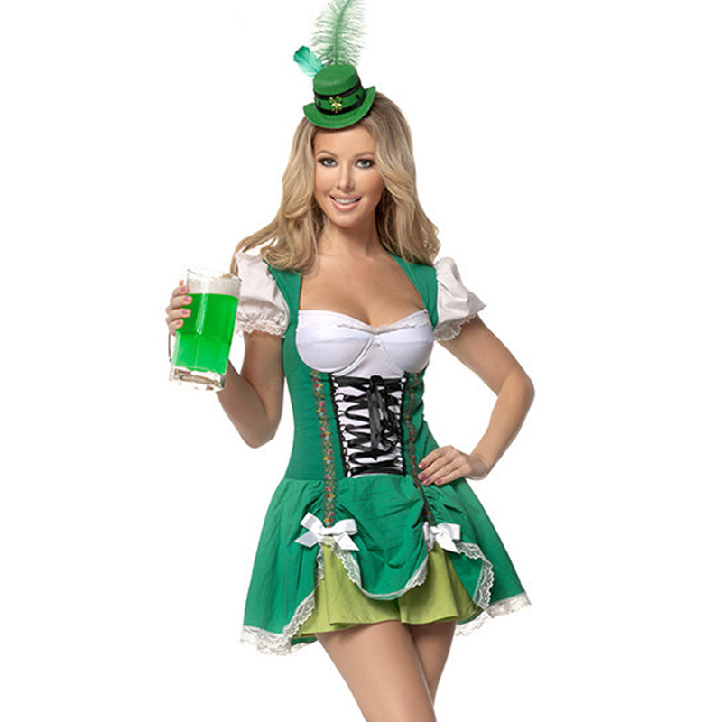 2017 limited carnival costume disfraces oktoberfest promotional clothing cafe waiter serving maid outfit luck of the - Irish Dancer Halloween Costume