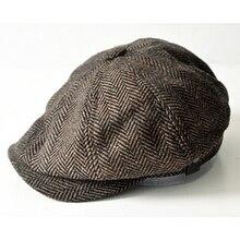 Caballero tapa octogonal newsboy Beret sombrero hombres Otoño Invierno Jason  Statham modelos masculinos casquillos planos conducción 7c1fa365f69