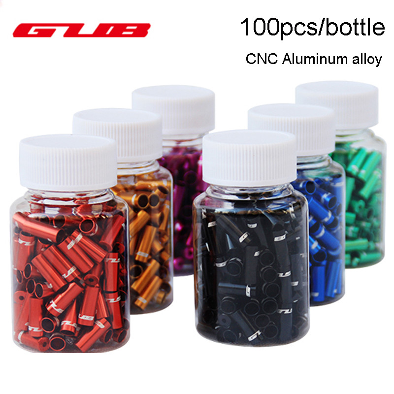 GUB 100pcs 4mm / 5mm Bike Derailluer Shift Brake Cable Housing Cap Line Outer Crimp Tips Ring Ferrule Inner Cable Housing End