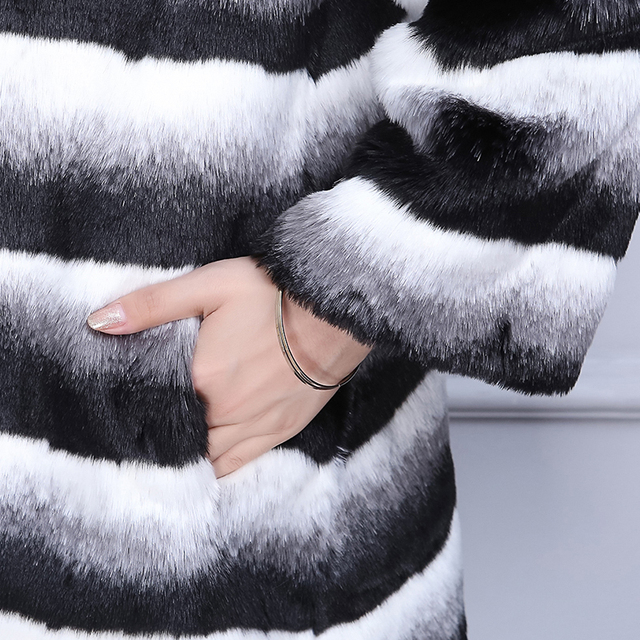 Nerazzurri  Winter Chinchilla Fur Coat Women Fashion 2019 Runway Long Sleeve Luxury Thicken Plus Size Faux Fur jacket 5xl 6xl