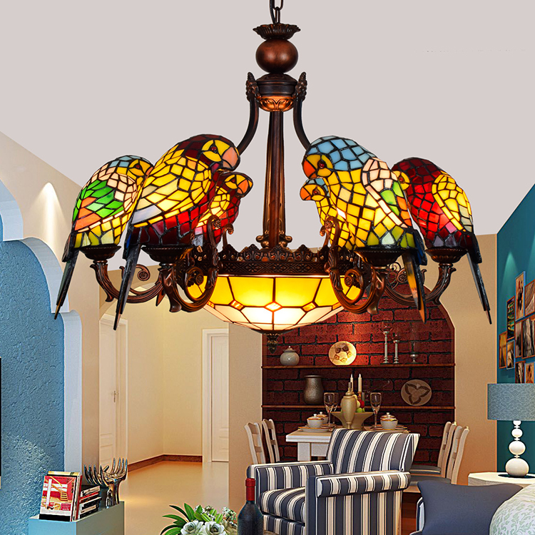 Image 3 - American Pastoral Tiffany Style Retro Luxury Parrot Bird Pendant Light Stained Glass Bar Living Room Parlor Hanging Lighting-in Pendant Lights from Lights & Lighting