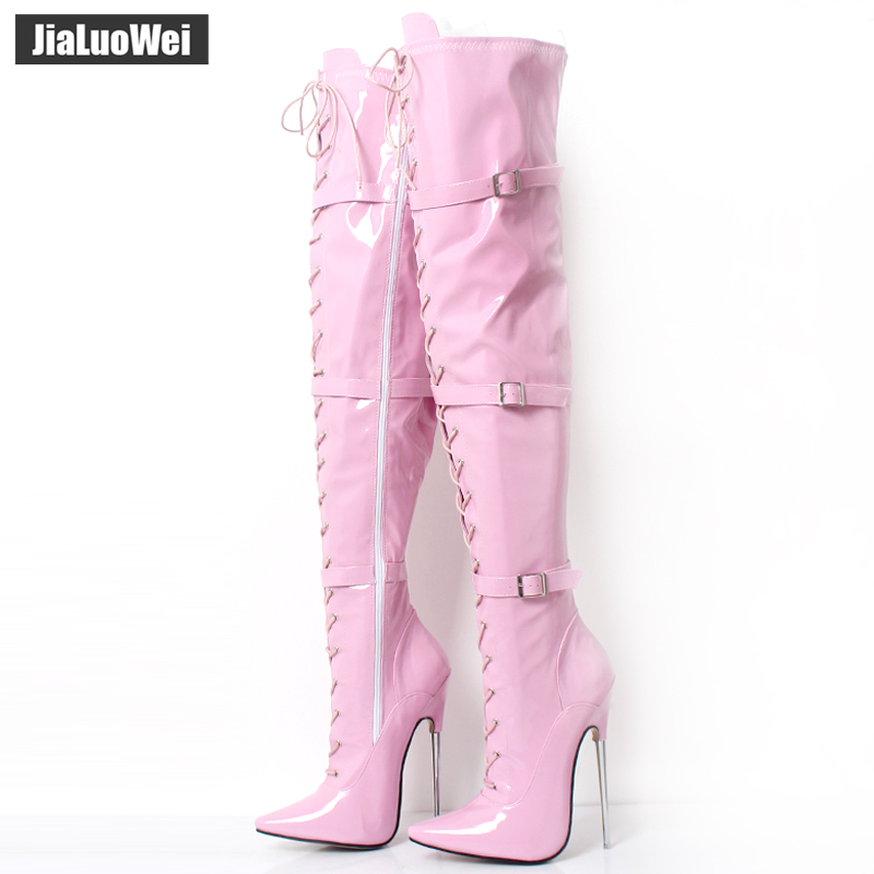 jiauowei 18CM Super High Heel Қара патенттік метал Spike Heel Sexy Fetish белбеу белдемді Over-Knee Thigh High Boot Plus мөлшері 36-46