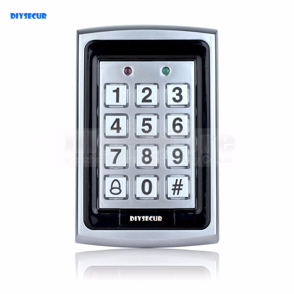 DIYSECUR 125KHz RFID ID Card Reader Metal Keypad With Door Bell Button Door Access Control System +10 ID Key Fobs 7612