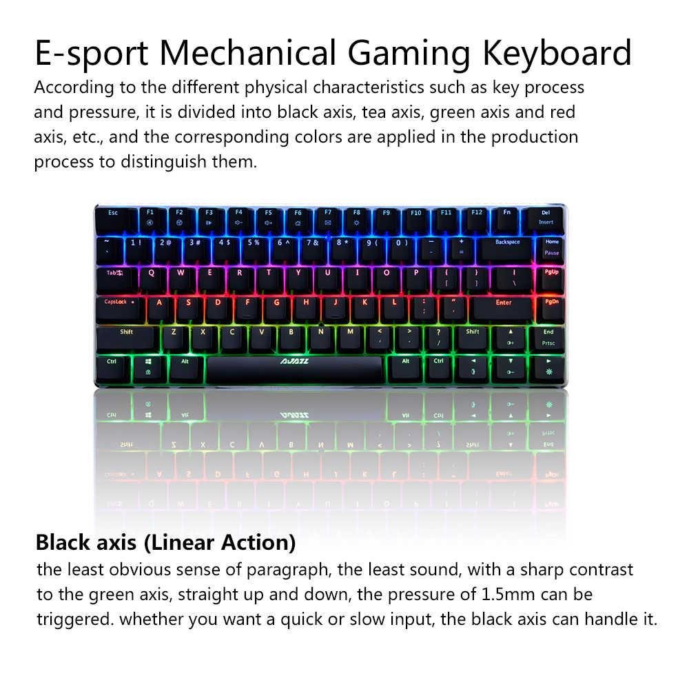 AJAZZ AK33 механическая клавиатура RGB светодиодный игровой клавиатуры 82 клавиши синий/черный переключатели анти-ореолы для PUBG LOL DOTA 2 comoouter