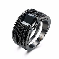 Copper Jewelry Ring Set Black Gun Plated Couple Ring Set 2pcs For Women Two Tone Black