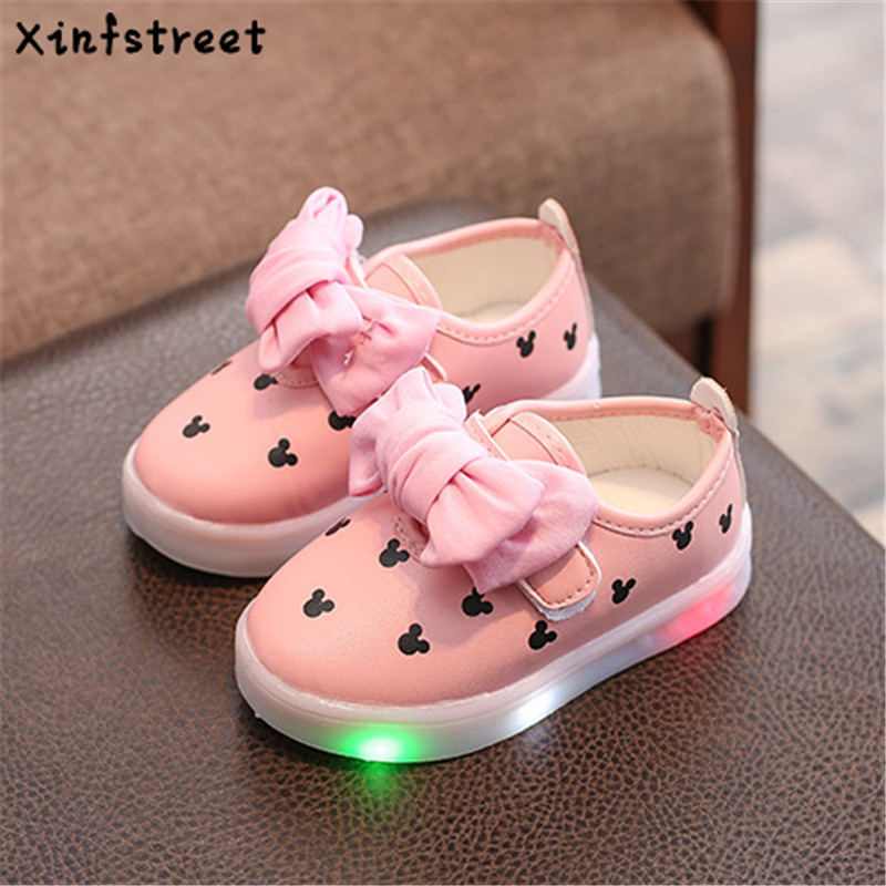 Xinfstreet Fashion Kids Girls Shoes With Light Luminate Sneakers Dot Cute Baby Children Shoes With Light Up Size 21-30