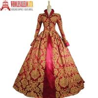 Edwardian Victorian Gothic Women's PUNK Gown Dress Elegant Red Printing Coat
