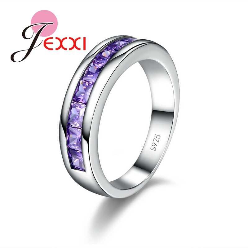 אופנה נשים תכשיטים סגול טבעות עבור גברת אלגנטית 925 כסף חתונת טבעת אירוסין לנשים